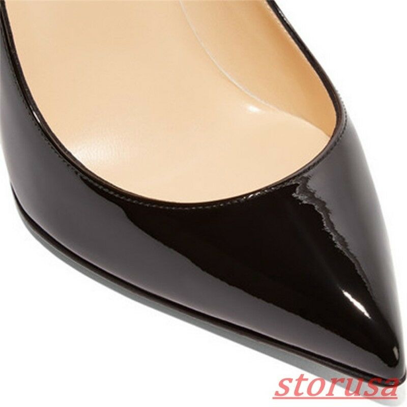Donna 12cm Stiletto High Heels Prom Shiny Dress Shoes Shiny Prom Pelle Pointed Pumps New f40191