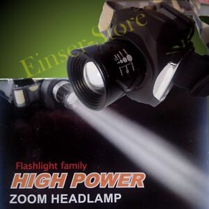 AKKU und FOKUS Sehr Hell Lumen 15W HIGH END CREE LED ZOOM KOPFLAMPE STIRNLAMPE