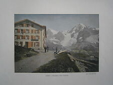 gravure 19° couleur Suisse: Wengernalp hotel Yungfrau