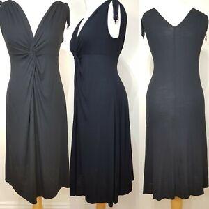 M-amp-S-Ladies-Black-Beachwear-Front-Knot-Dress-Size-10-BNWT-Summer-Holiday-Stretch