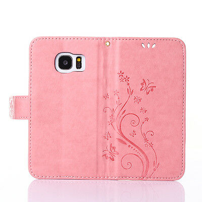 Butterfly PU Leather Wallet Cards Holder Stand Case Cover For Samsung Phones