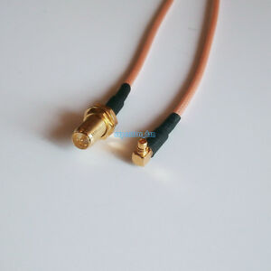 MMCX-Male-Right-Angle-to-RP-SMA-RPSMA-Female-jack-RG316-cable-Pigtail-RF-8inch