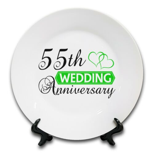 """8/"""" Wedding Anniversary-Two Hearts Anniversary Novelty Ceramic Plate 1st - 70th"""