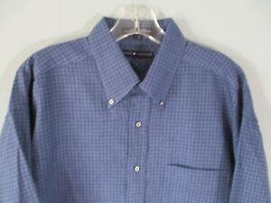 Tommy-Hilfiger-Men-039-s-Size-Large-Blue-Long-Sleeve-Button-Front-Shirt-w-Pocket