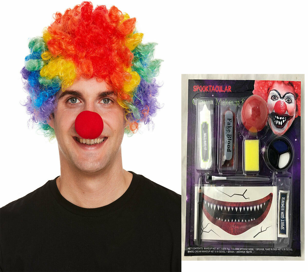 Adults Scary Clown Make Up Kit And Rainbow Clown Wig Fancy Dress 2 Pcs Party Set