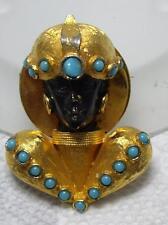 Vintage Unique OOAK Blackamoor Nubian Princess Turquoise Cabochon Pin Brooch