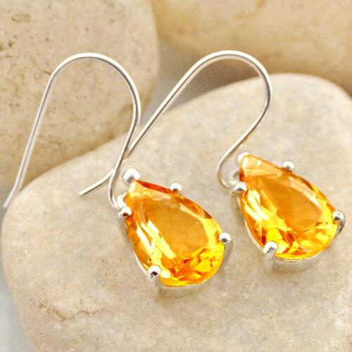 Natürlich Gelb Citrin 925 Sterlingsilber Birne Ohrhänger Manifestieren Stein