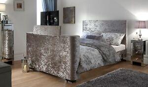 Newark-5ft-King-Size-Crushed-Velvet-TV-Bed-Bedstead-Electric-Lift-Mechanism