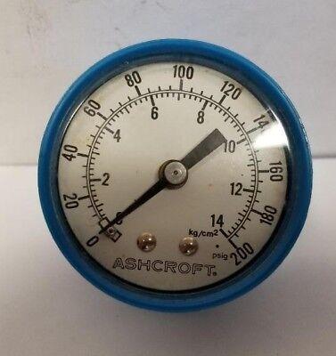 "14kg//cm2 2/"" Dial Dual Scale 200PSI Pressure Gauge 1//8/"" Back Ashcroft Inc"