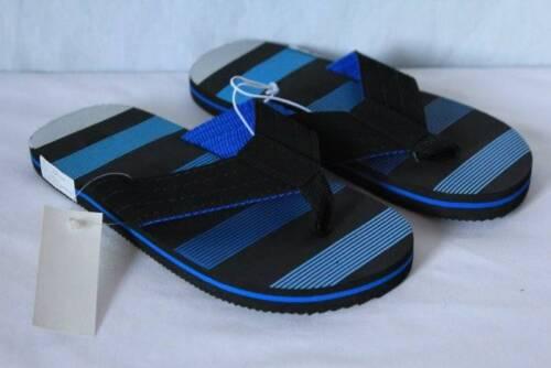 NEW Boys Flip Flops Size Large 2-3 Black Blue Sandals Summer Shoes Pool Beach