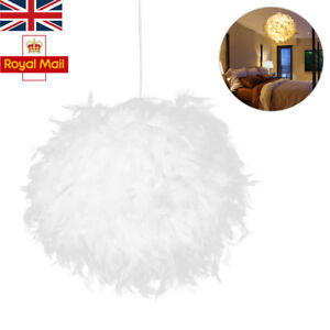 Feather Light Shade Ceiling Lamp Romantic Droplight Pendant White Lampshade with E27 Bulb LED Floor Lamps for Living Dining Room Bedroom 30CM