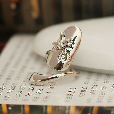 Elegance Dragonfly Flower Design Wedding Jewelry Rhinestone Finger Tip Nail Ring