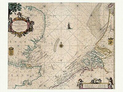Channel Irish Sea Old Decorative Nautical Chart Goos 1667 Paper Canvas