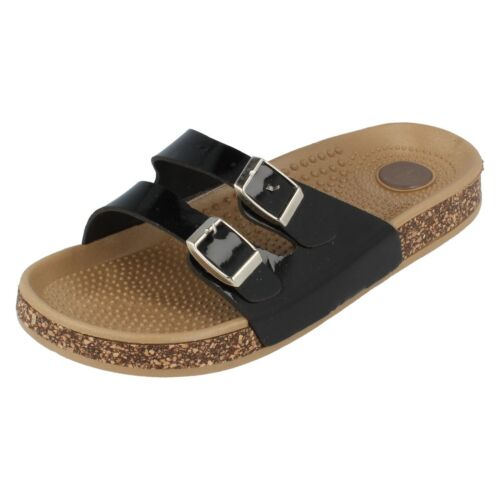 Spot On Ladies Synthetic//Patent Black Mule Sandal F0R809 R8A