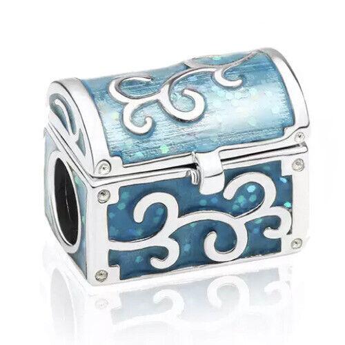 Cofre del tesoro azul se abre encanto grano para pulsera joyas de plata esterlina
