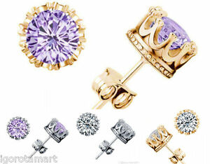 Pair-Crystal-Crown-Round-Square-Ear-Stud-Earrings-Piercing-Men-Women