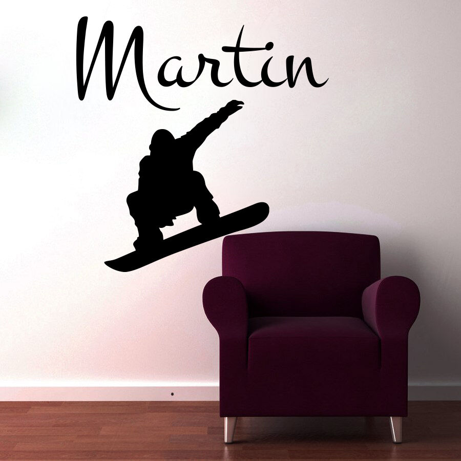 Personalized Name Wall Decals Snowboard Stickers Vinyl Decal Bedroom Decor MN659