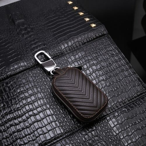 Zipper Leather Car Smart KeyChain Holder Case Cover Key Holder Pouch Keyring AN5