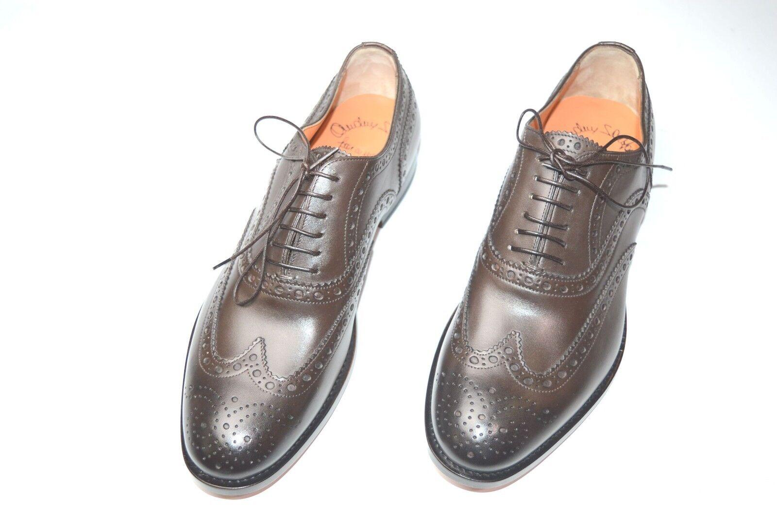 Nouvelle robe SANTONI Brun Chaussures Cuir Taille EU 43.5 UK 9.5 US 10.5 (50R)