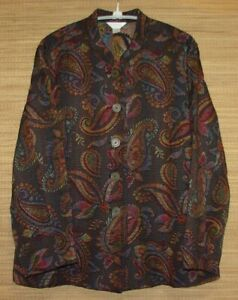 CJ-Banks-Plus-Size-1X-Button-Front-Long-Sleeve-Paisley-Tapestry-Jacket