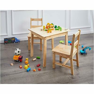 Play Table And Chairs Set Kids Toddlers Furniture Natural Solid Wood Art Crafts Ebay