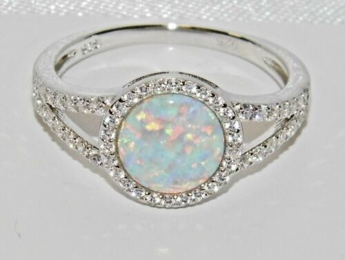 OPAL /& WHITE ZIRCON LADIES HALO CLUSTER RING size L STERLING SILVER 925
