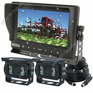 TRACTOR-7-034-DIGITAL-BACK-UP-CAMERA-SYSTEM-WATERPROOF-MONITOR-2-REAR-VIEW-CAMERAS