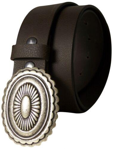 FRONHOFER Ethno Ledergürtel ovale Gürtelschnalle mexikanischer Stil altsilber