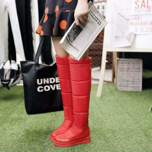 Details about  /Womens Knee High Pull On Snow Boots Shoes Hidden Wedge Heel Platform Winter New