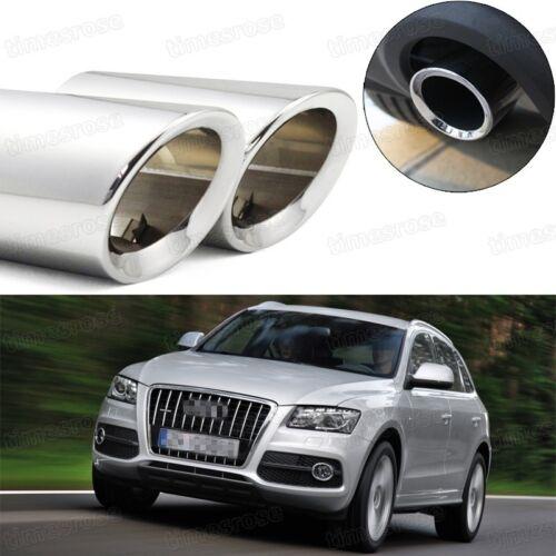 2Pcs Car Exhaust Muffler Tip Tail Pipe Trim Silver for Audi Q5 2009-2012 #5030