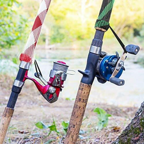 Spinning, 7 Pieces Fishing Rod Cover Sleeve Sock Braided Mesh Lanyard For Fly
