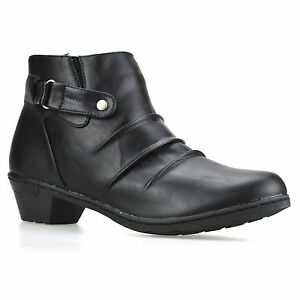Ladies-Womens-Mid-Block-Heel-Zip-Up-Ankle-Cowboy-Chelsea-Biker-Boots-Shoes-Size