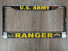 Us Army Ranger Embossed Metal Chrome Aluminum License Plate Frame Holder Usa