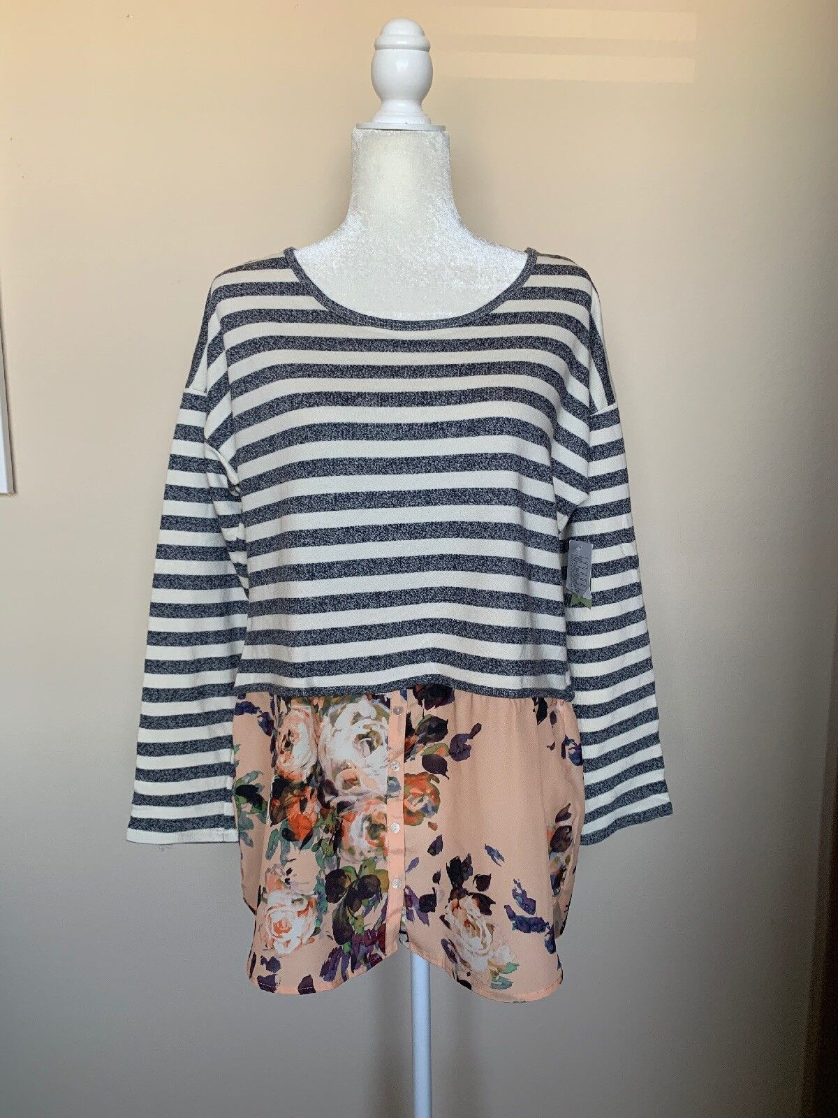 NWT Anthropologie Postmark Floral Layerot Ginny Top, Größe L Tunic Stripes Fall
