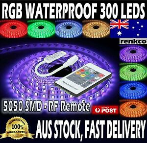 Waterproof-5050-RGB-5M-300-LEDs-SMD-LED-Strip-Lights-12V-20-Key-RF-Controller