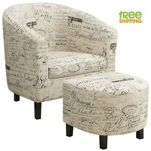 Sturdy Accent Chair Ottoman Set Off White French Script High Quality