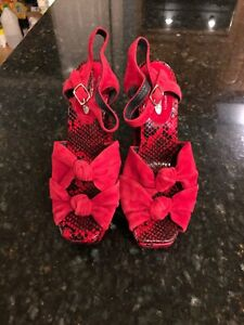 Jeffrey-Campbell-For-Anthropologie-Red-Suede-Snakeskin-Sandals-Size-7-New