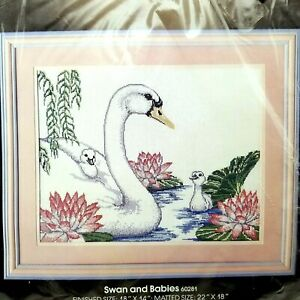Counted Cross Stitch Swan and Babies Cygnets Pink Water Lily Lotus Flower 60281