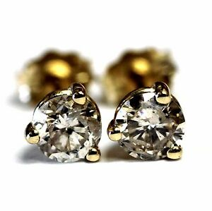 New-14k-yellow-gold-SI2-brown-76ct-round-diamond-stud-earrings-95g-butterfly