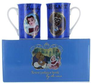 Disney Beauty and The Beast Set of 2 China Belle and Beast Mugs In Gift Box