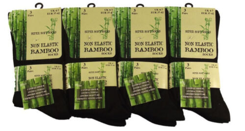 Multipack Ladies Black Luxury Non Elastic Bamboo Super Soft Anti Bacterial Socks