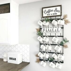 Details About Metal Coffee Mug Rack Large 6 Row Wall Mounted Storage Display Organizer