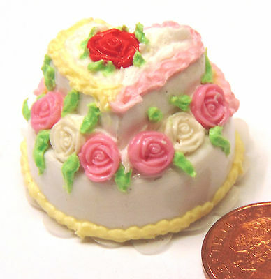 1:12 Scale Bride /& Groom 2 Tier Blue /& White Wedding Cake Tumdee Dolls House