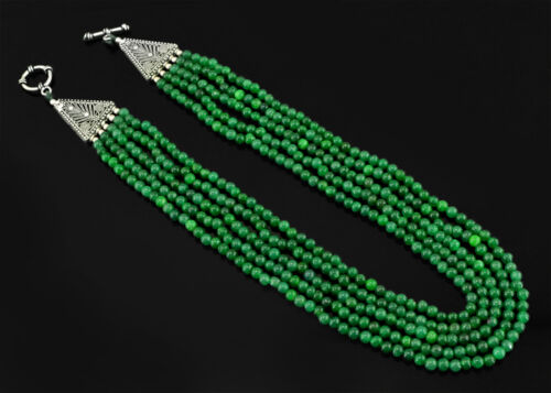 MAGNIFICIENT AWESOME 450.00 CTS EARTH MINED 5 LINE GREEN EMERALD BEADS NECKLACE
