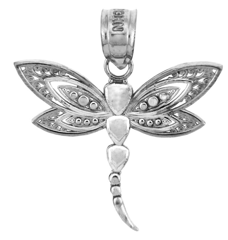 White gold Dragonfly Pendant (Made in USA)