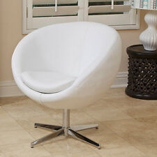 Sphera Modern Design White Leather Swivel Accent Chair
