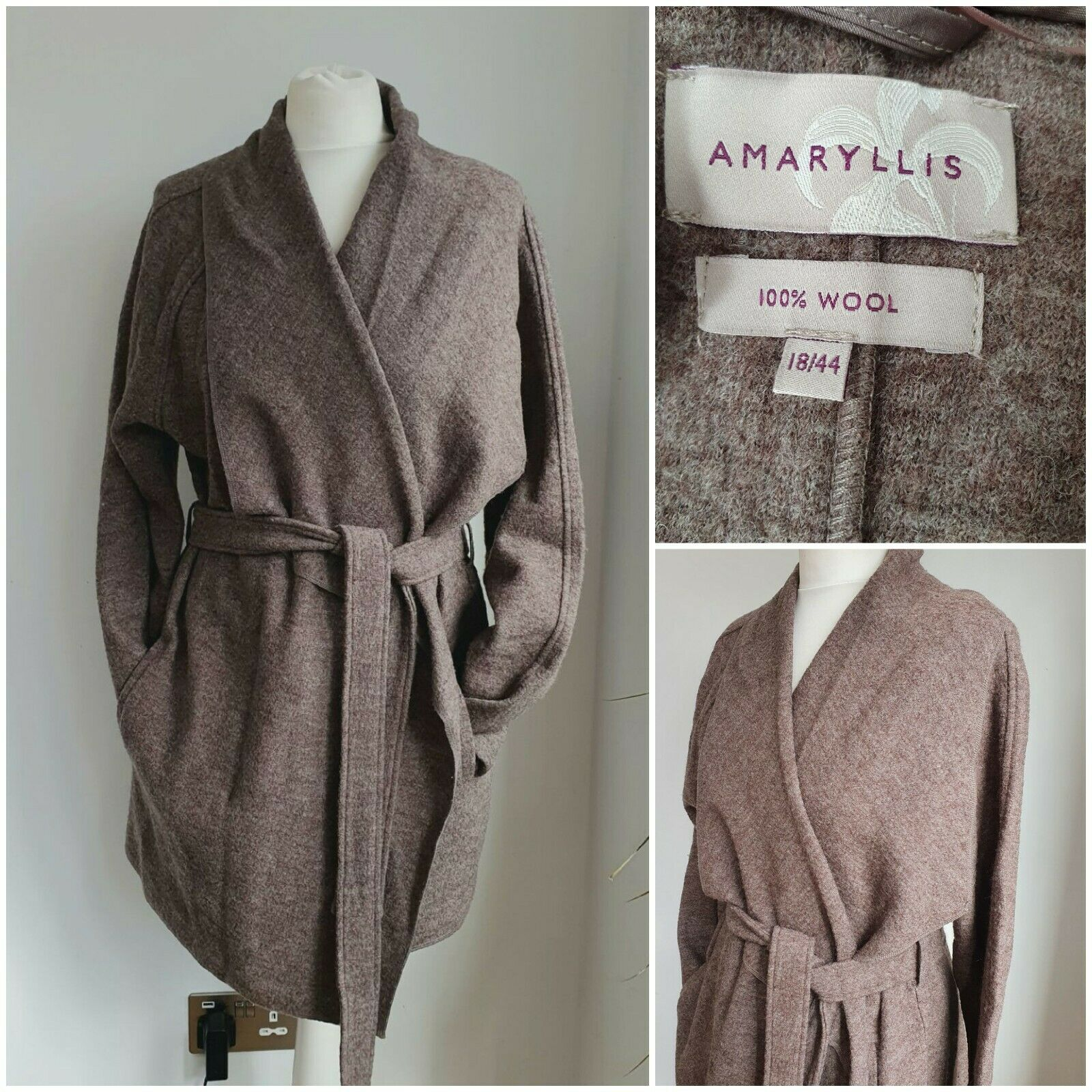 AMARYLLIS Wool Wrap Coat Size 18 Taupe Brown Belted Pockets