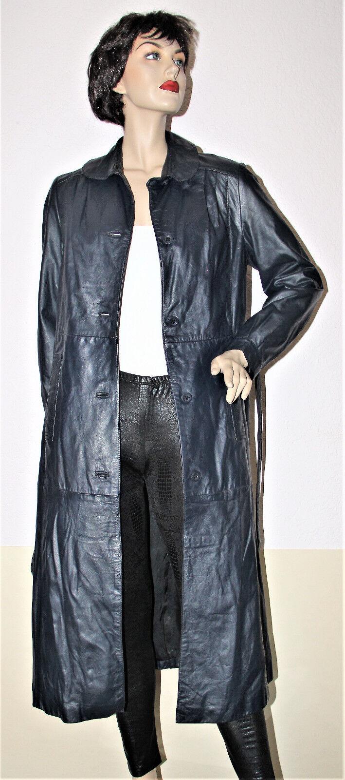 116cm schöner Damen Ledermantel sehr weiches Echtleder blau Gr. Gr. Gr. s. Maße 4b4214