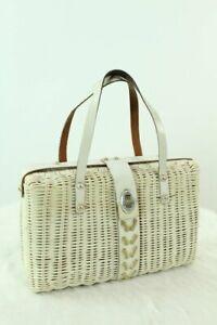 Vintage-60s-White-handbag-woven-wicker-basket-leather-Hong-Kong-purse-bag