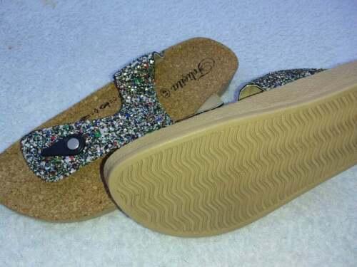 37 NEU 41 38 modisch flippige Sandale in Glitzeroptik Glitzer Gr: 36